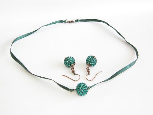 Dámský set - náhrdelník, náušnice - zelená BH-006
