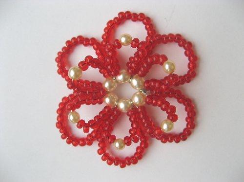 Vánoční ozdoba - kytka červená, velká