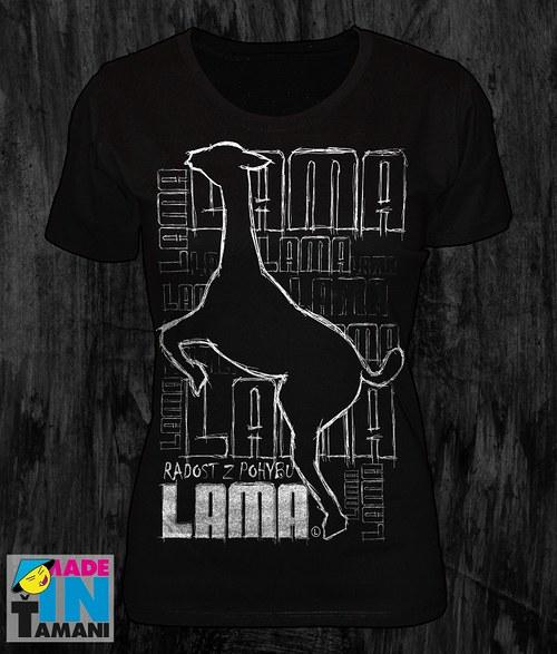 Dámské černé tričko s Lamou velký potisk 2