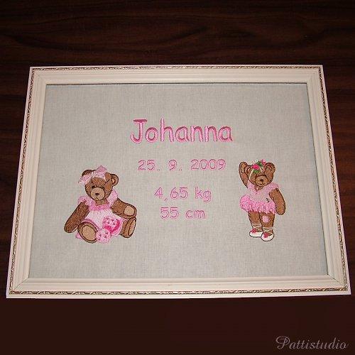 Vyšívaný obrázek s datem narození