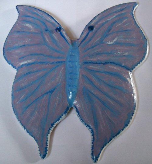 keramický motýl - modrý
