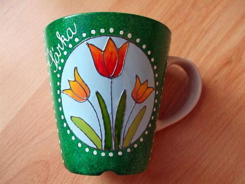 Malovaný hrníček - tulipány