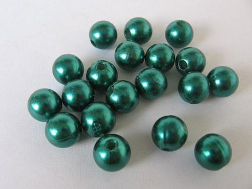 Voskové korálky - zelená  8 mm / 25 ks