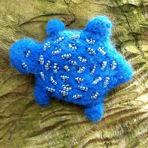 Plstěná želvička krásně modrá