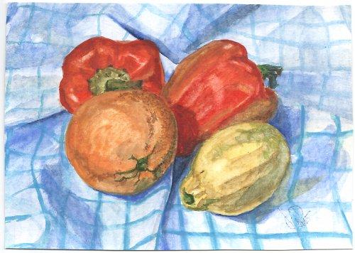 Kuchyňské zátiší - akvarel