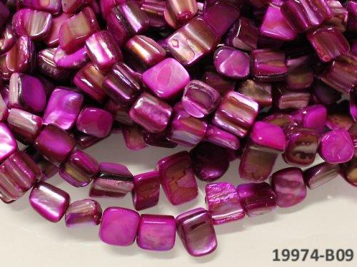 19974-B09 Přírodní PERLEŤ kostky CYKLÁM, bal. 10ks
