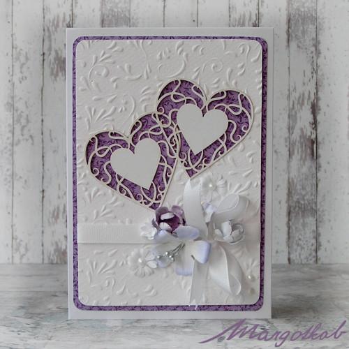 Svatební přání srdíčika fialová