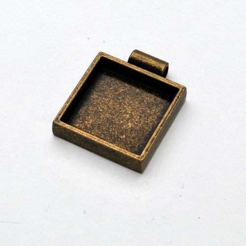 Kovový základ na přívěsek čtvereček / zlatý