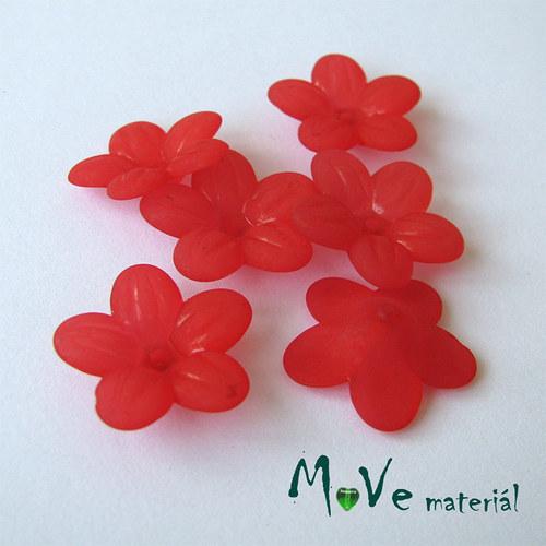 Akrylový transparentní květ 20mm, 6ks, červený