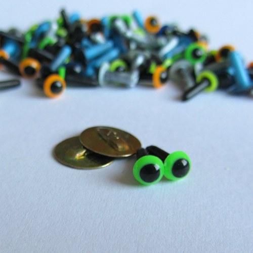 Bezpečnostní oči - zelené (výrazné) 6 mm