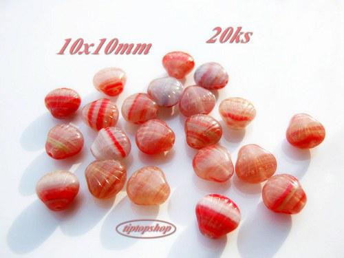 Mušličky červené, sklo, 10x10mm (20ks)