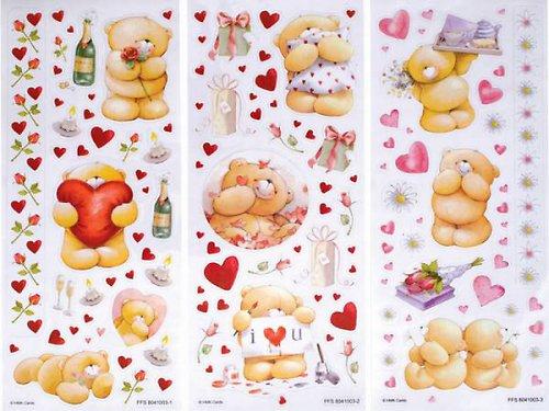 Samolepky medvídci-3 archy-srdce a květiny