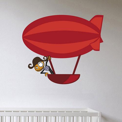 Pirát ve vzducholodi - samolepka na zeď