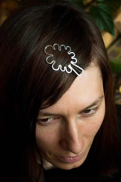 stříbrná vlasová sponka - strom