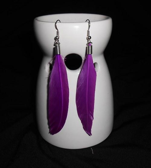 Náušnice peříčka - jemné - fialové