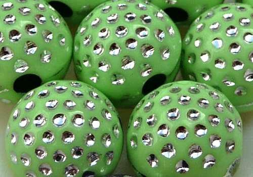 Plastové kuličky s tečkami 10 mm - zelená / 4 ks