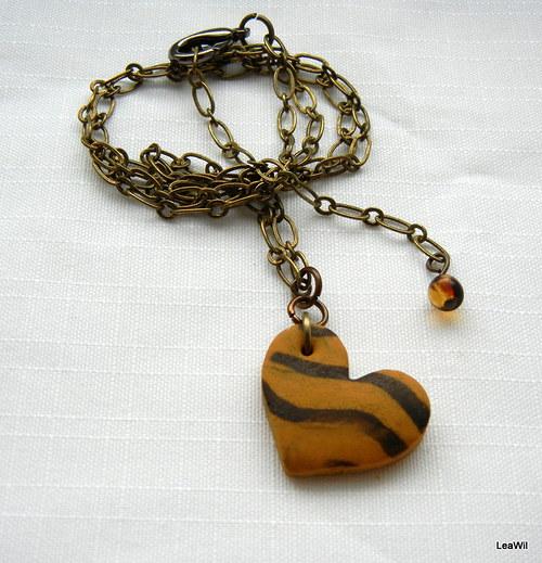 Tygří mámení - náhrdelník srdce malé