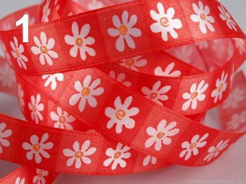 Stuha saténová š.16mm květy