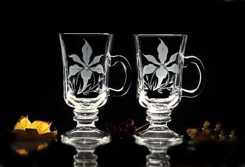2x sklenice na kafe-motiv kytek