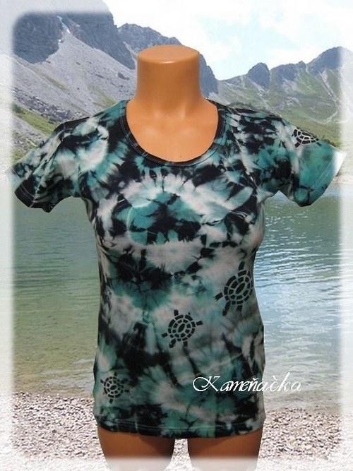 Dámské tričko zelenočerná batika s želvičkami