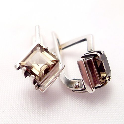 Náušnice «Mini» - stříbro 925, přírodní záhněda