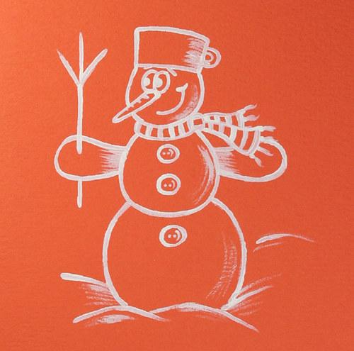 Ručně malované přání se sněhulákem