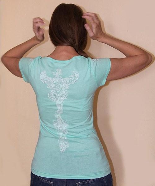 svítící tričko ledové modrozelené s ornamenty, M
