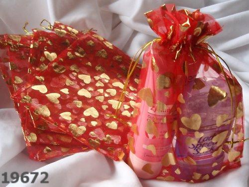 19672 Organza pytlík červený/zlatá srdíčka 20/14