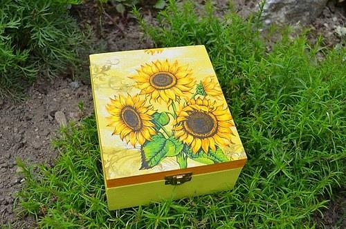 Krabička na čaj - 4 přihrádky - slunečnice