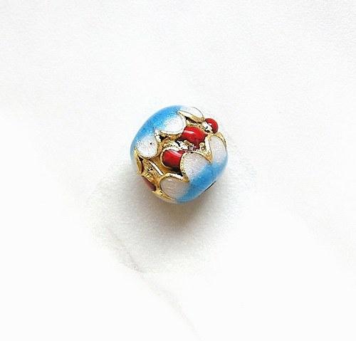 Korálky cloisonné, 13 mm - 1 kus