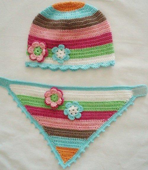 Háčkovaná čepička + šátek na krk