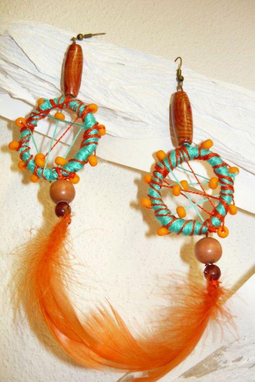 náušnice ve stylu indiánckých lapačů veselé
