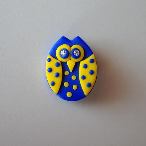 Soví brož modrožlutá puntíkatá