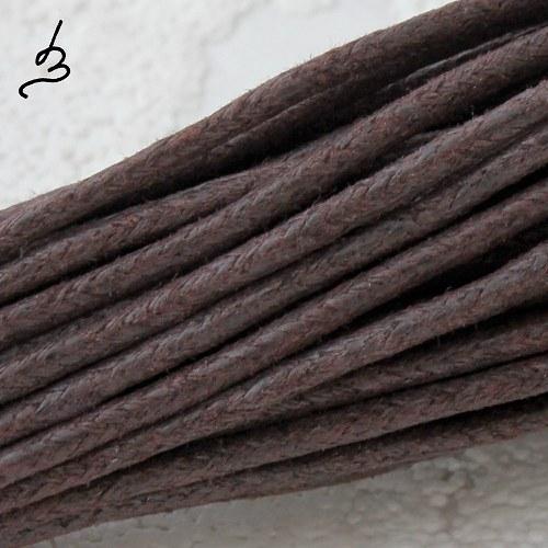 Bavlněná šňůrka 2 mm hnědá