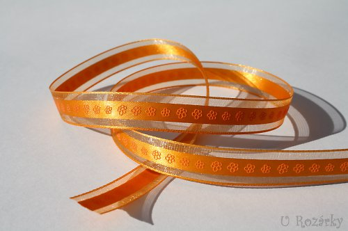 Stuha monofilová (květinky)  - šíře 15 mm,oranžová