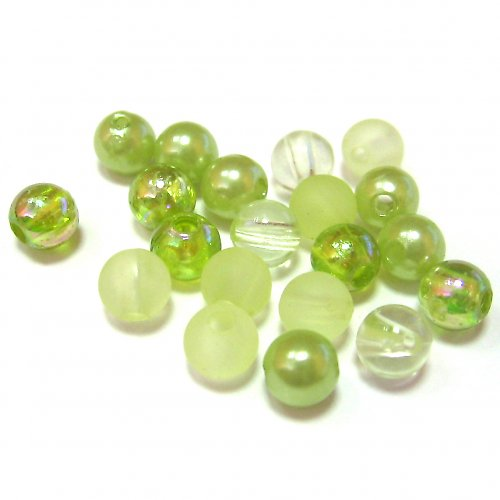 Směs perel a korálků - zelená - 50 ks