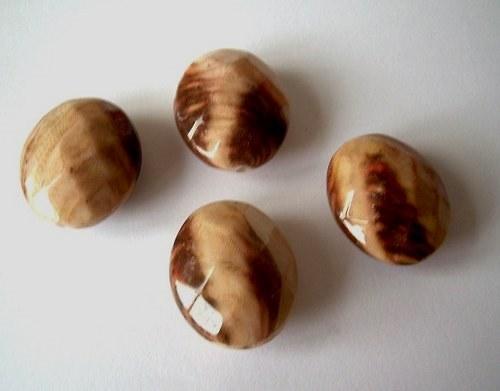 Plastový korálek imitace dřeva - 5 ks