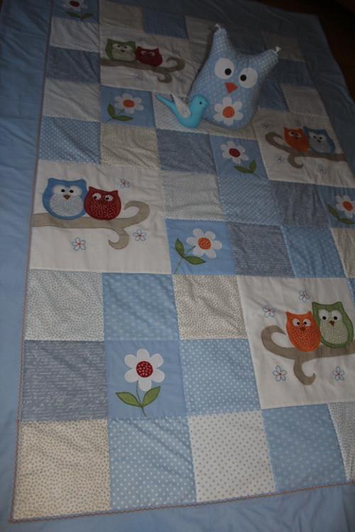 Sovičkový přehoz v modré pro holčičky