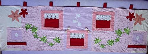 Růžovo-fialový velký,zateplený, kapsář za postel