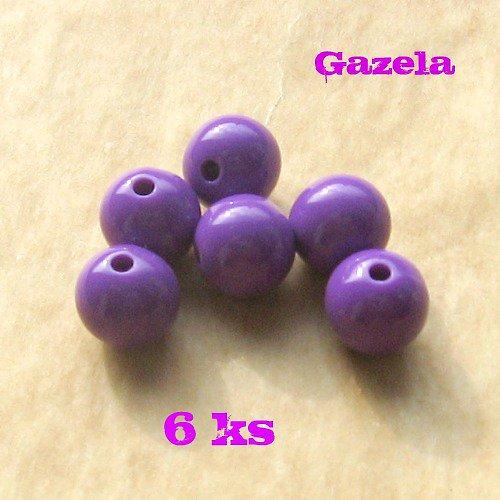 Korálek plastový fialový - 6 ks