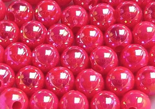 Plastové kuličky duhové 4 mm - tm. růžová / 20 ks