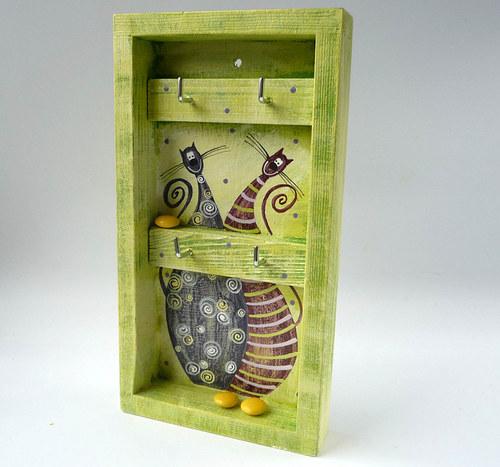 věšák na klíče s alarmem - zelený s Tlustínky