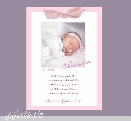 Oznámení o narození holčičky