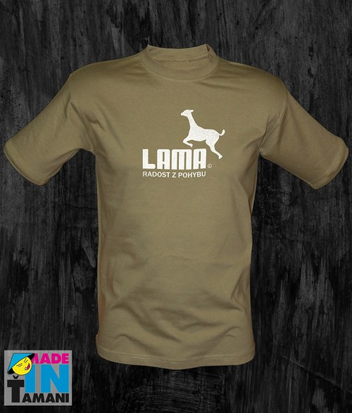 Pánské khaki tričko s Lamou