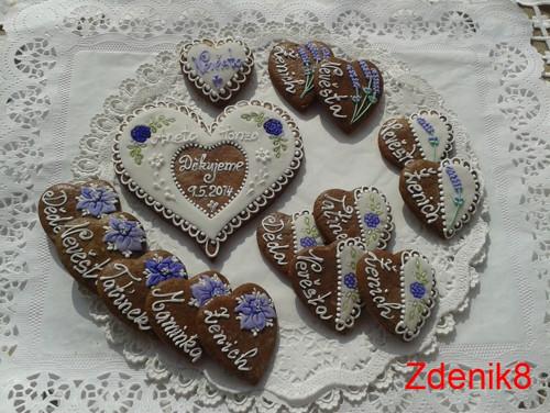 Svatební perníkové srdce s kytičkami - lila