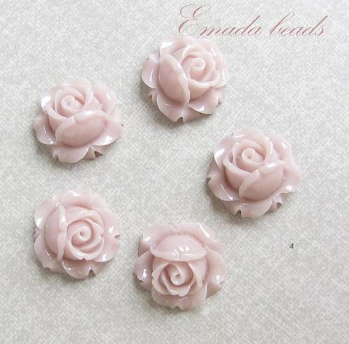Resin květiny, kabošon béžová-lila, 1,5 cm
