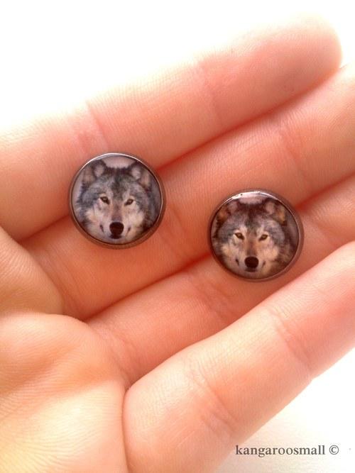 Ze života vlků - náušnice z křiš. pryskyřice