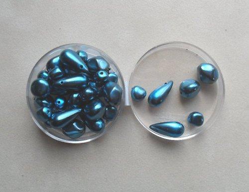 modrozelené voskované korálky 100g