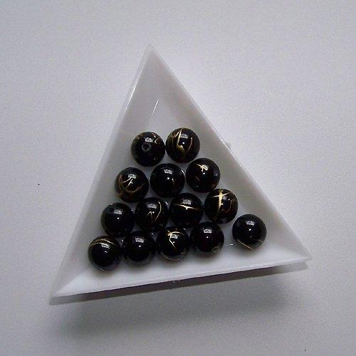 akrylové korálky, žíhané / 10mm / černé / 10ks