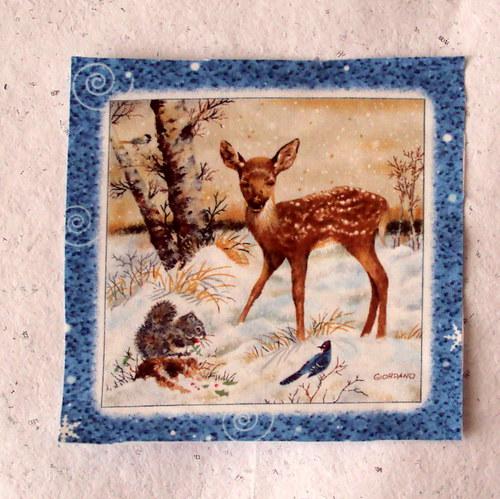 Zvířátka v zimním lese - srnečka